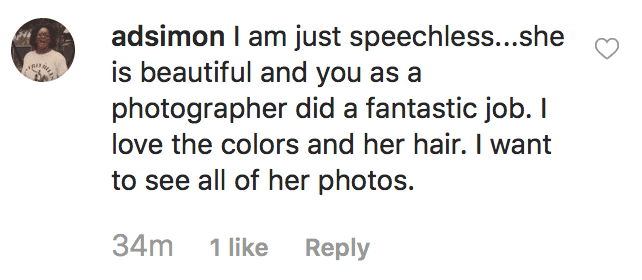 Commenter praisesphotographer, Jermaine Horton for treating Marian Scott to a professional photoshoot after she is denied a class photo over the color of her hair | Source: instagram.com/jermainehortonphotography