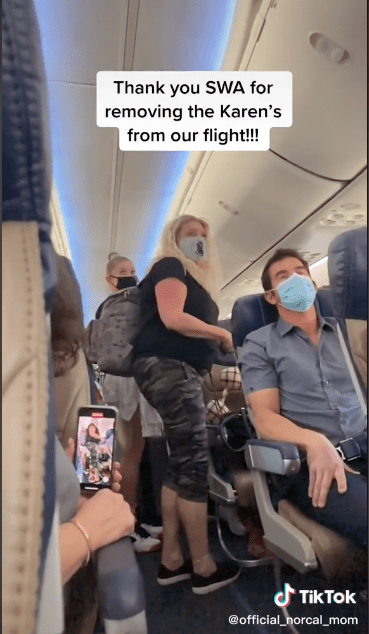 A mother and daughter causing commotion inside a plane.   Source:  tiktok.com/official_norcal_mom