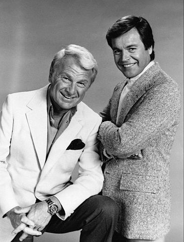 """Eddie Albert and Robert Wagner from the premiere of the television program """"Switch!"""" in 1975. 