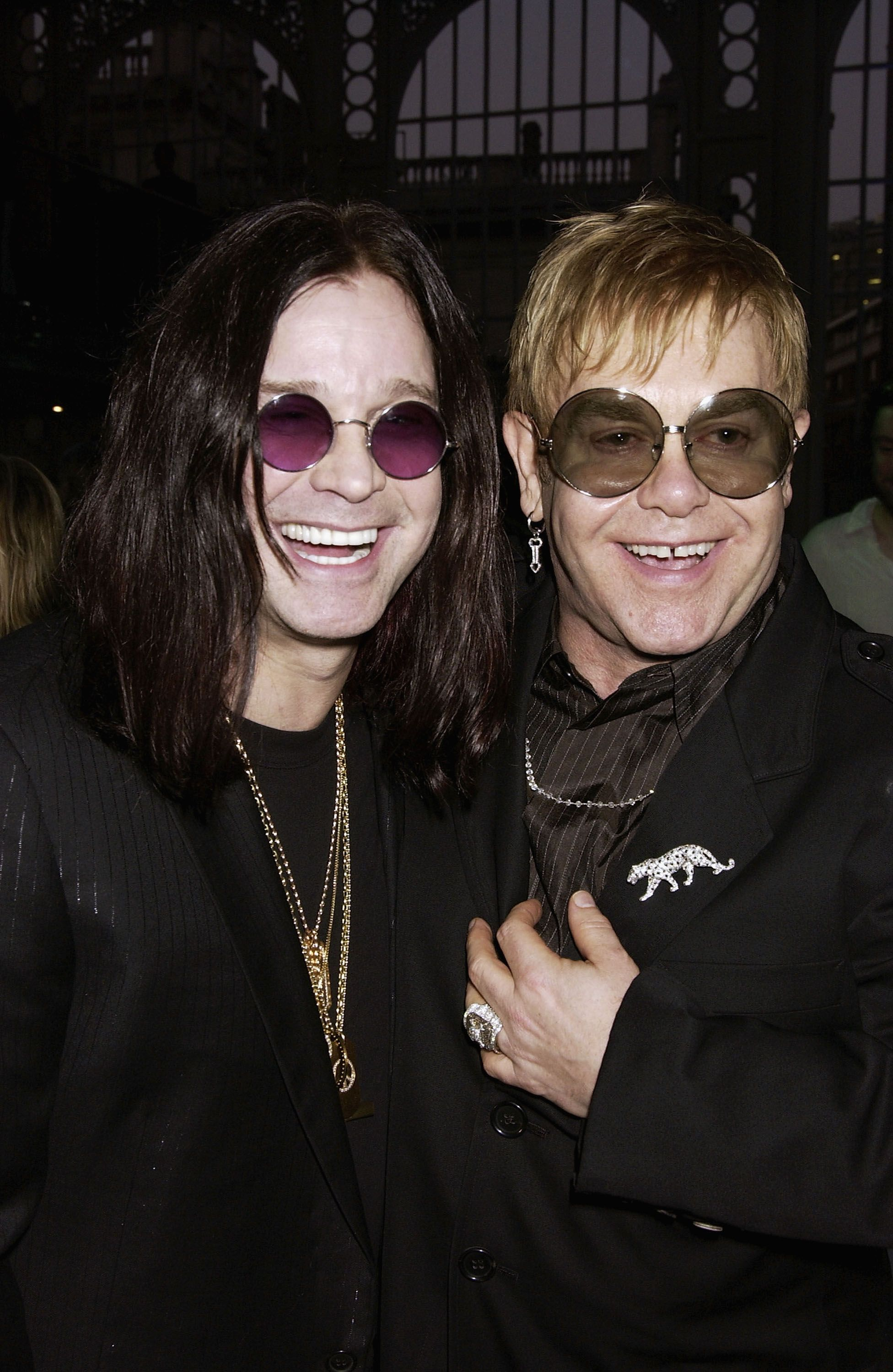 """Ozzy Osbourne and Sir Elton John at the  """"GQ Men Of The Year Awards"""" afterparty on September 7, 2004, in London 