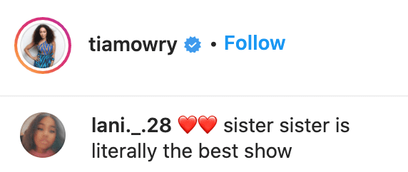 A fan's comment on Tia Mowry's post.   Source: Instagram/tiamowry