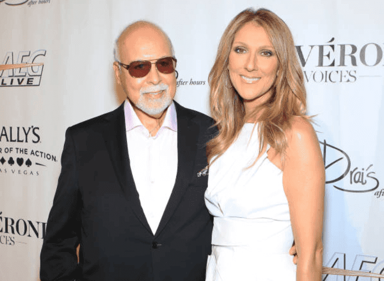 """Rene Angelil singer Celine Dion arrive on the red carpet for the premiere of """"Veronic Voices,"""" on June 28, 2013 in Las Vegas, Nevada 