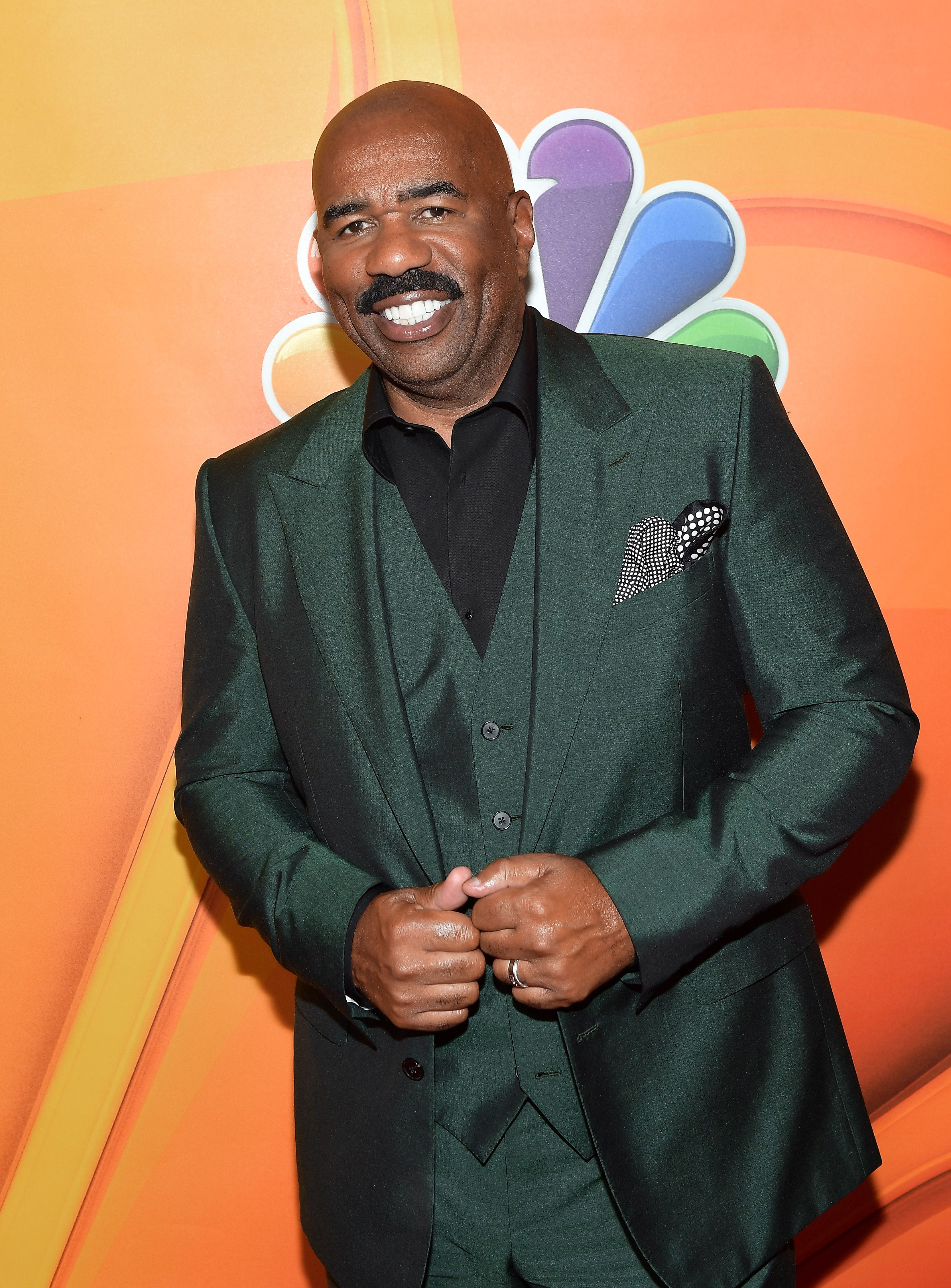 Steve Harvey at the NBCUniversal Summer TCA Press Tour in August 2017. | Source: Getty Images