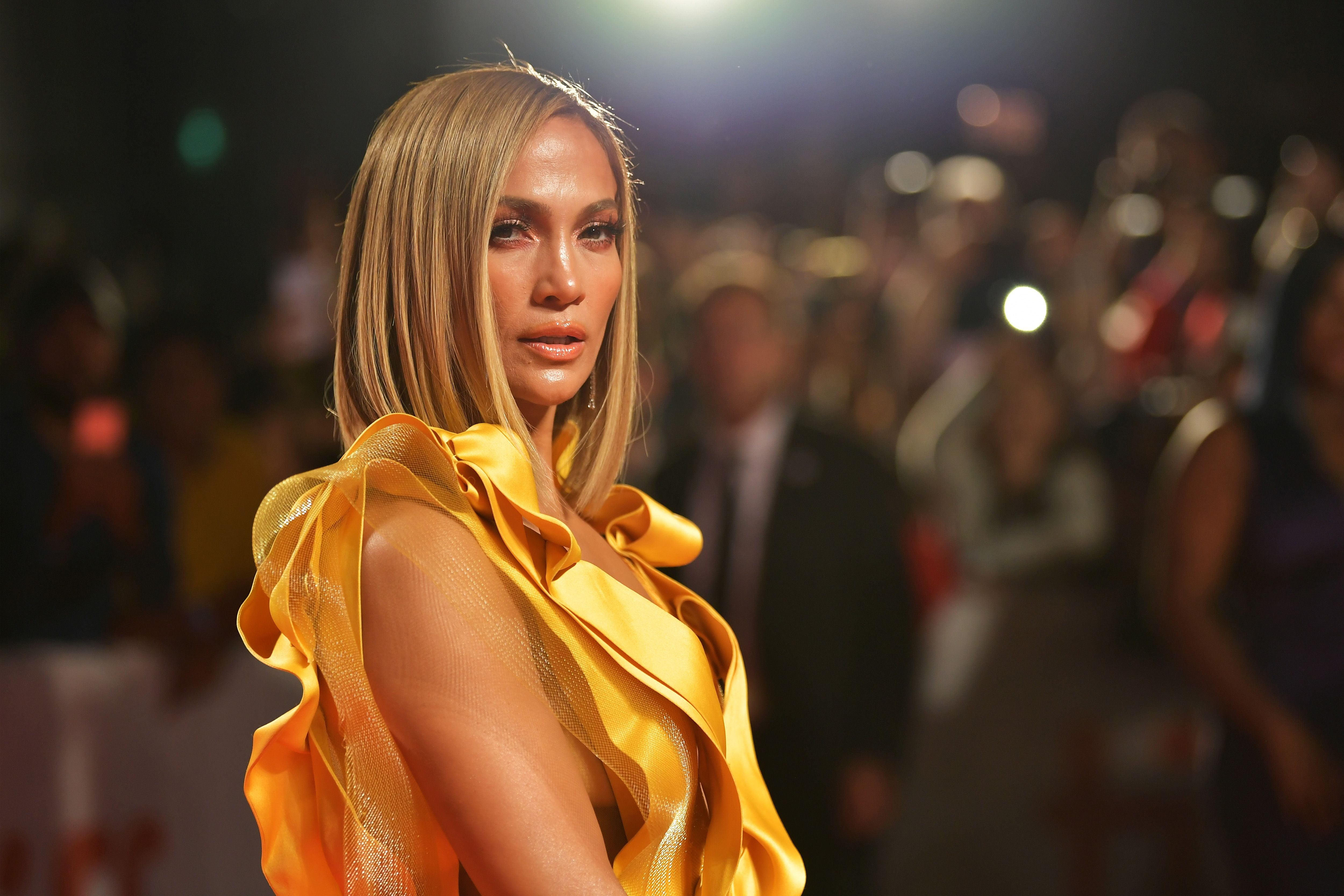 """Jennifer Lopez at the """"Hustlers"""" premiere during the 2019 Toronto International Film Festival at Roy Thomson Hall on September 07, 2019 in Toronto, Canada. 