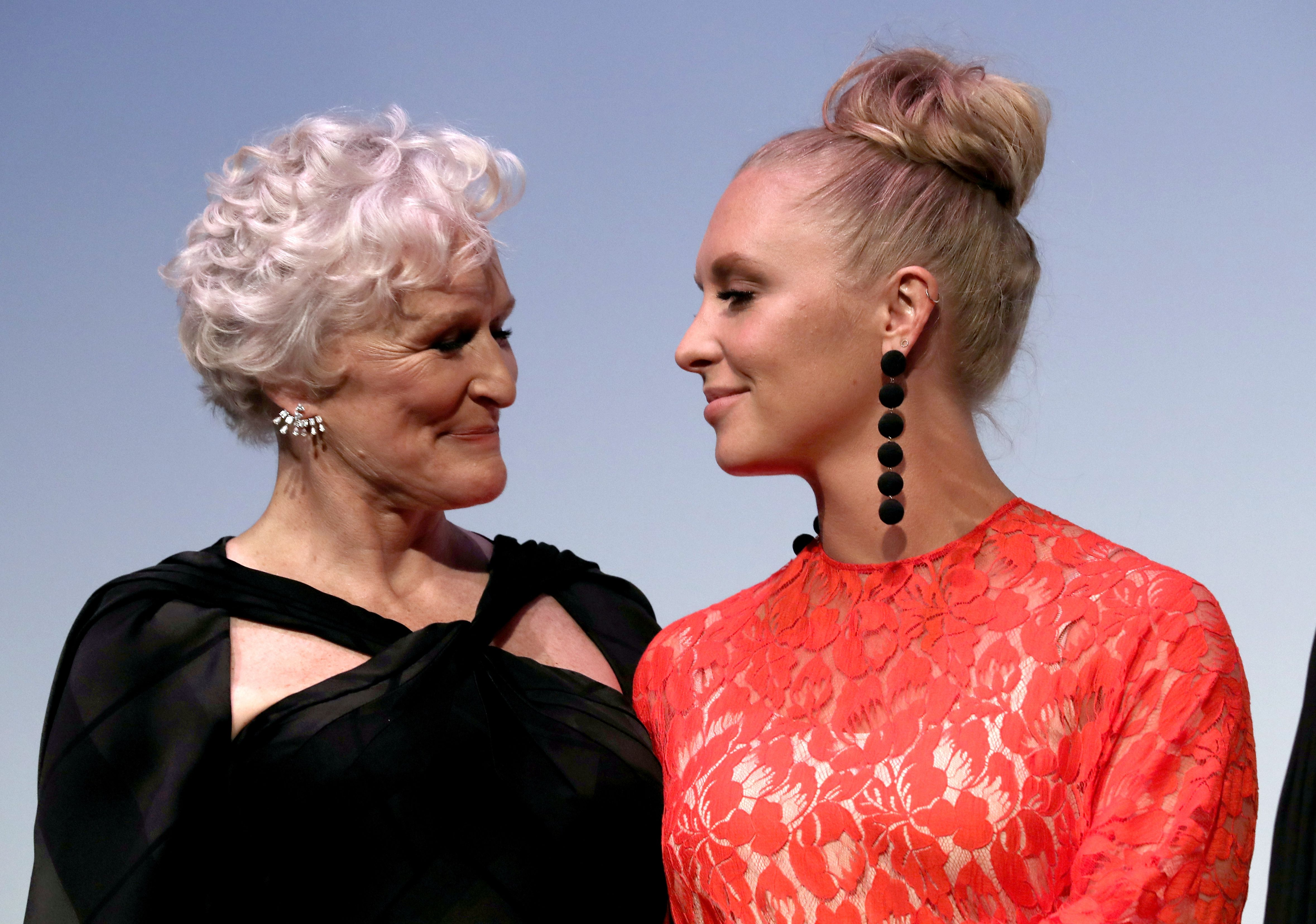 """Annie Starke and Glenn Close at """"The Wife"""" premiere at the 2017 Toronto International Film Festival 