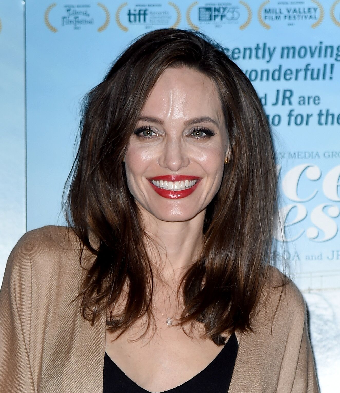 """Angelina Jolie attends the premiere of Cohen Media Group's """"Faces Places"""" at Pacific Design Center on October 11, 2017 in West Hollywood, California. 