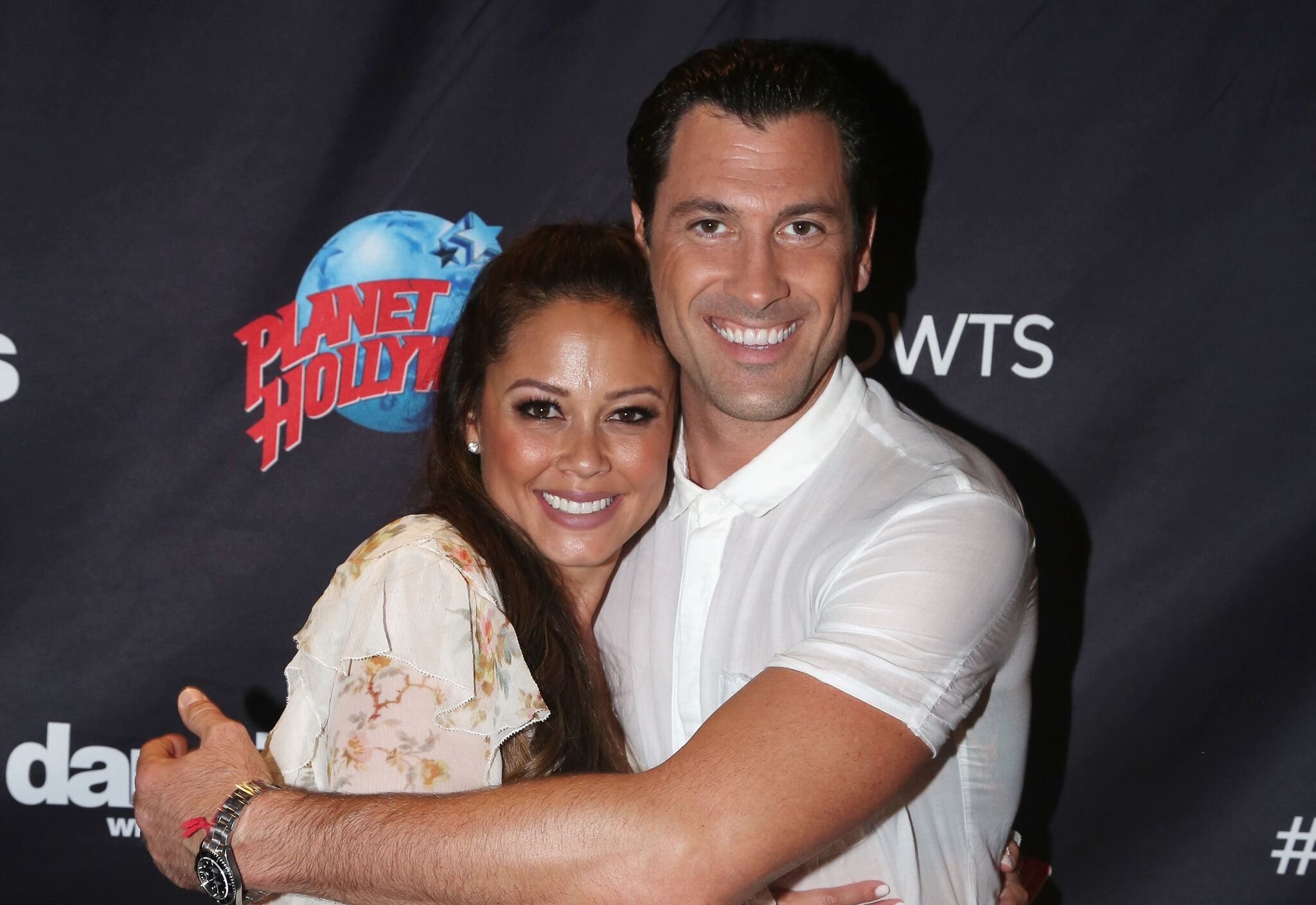 """Vanessa Lachey and Maks Chmerkovskiy pose at ABC's """"Dancing with the Stars"""" Season 5 cast announcement event at Planet Hollywood Times Square  