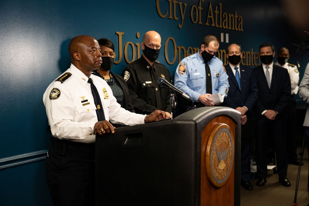 Chief Rodney Bryant, of the Atlanta Police Department, speaks at a press conference on March 17, 2021 in Atlanta, Georgia | Photo: Getty Images