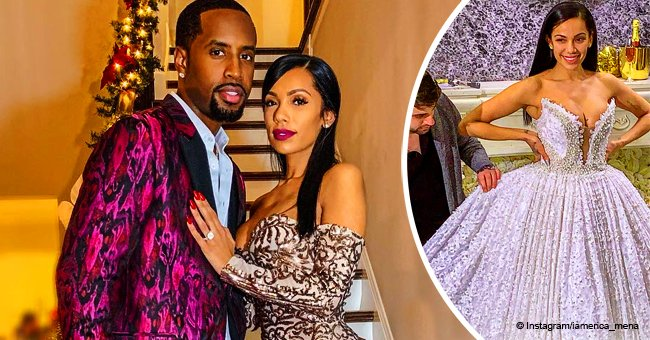 Safaree's fiancée Erica Mena is already preparing for the wedding as she tries on a wedding gown