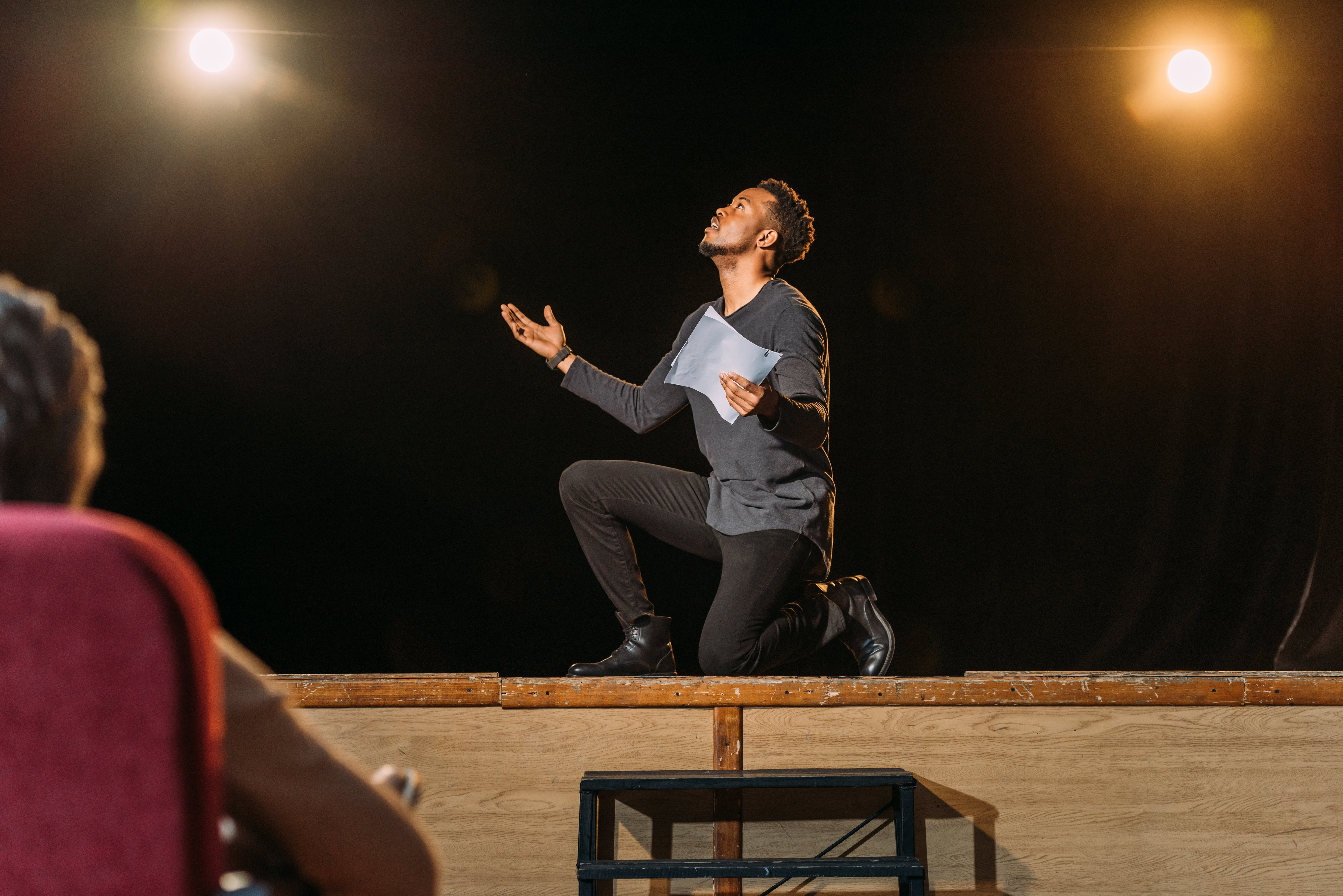A man auditioning on stage.  Source: Shutterstock