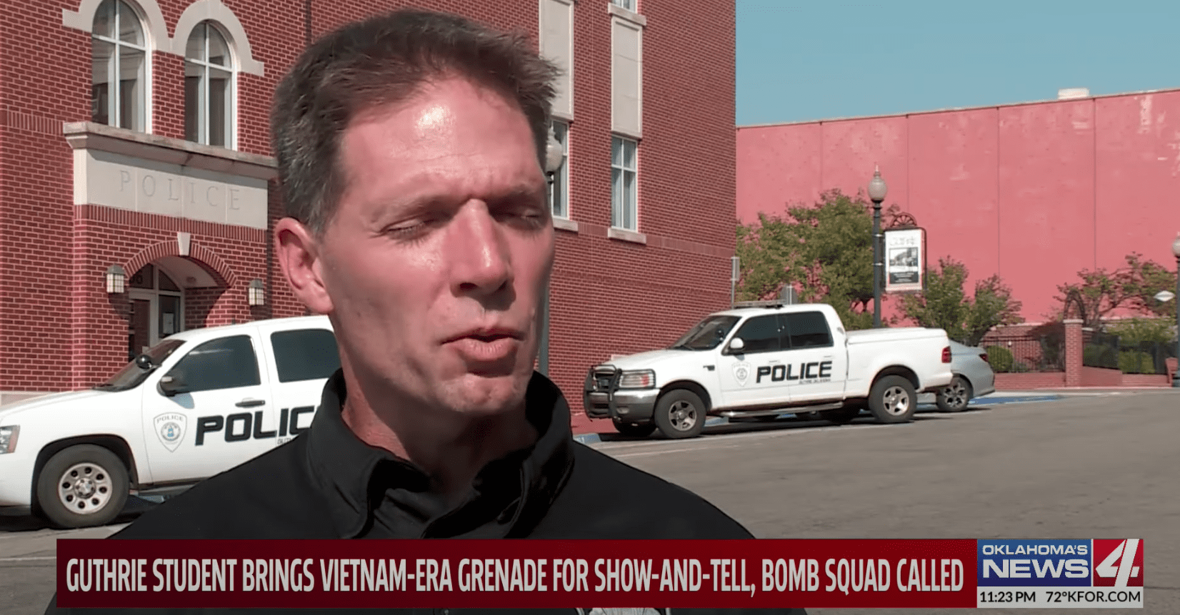 Officials speak to news reporters about the dangerous military device that was brought to school by a pupil   Photo: Youtube/KFOR Oklahoma's News 4