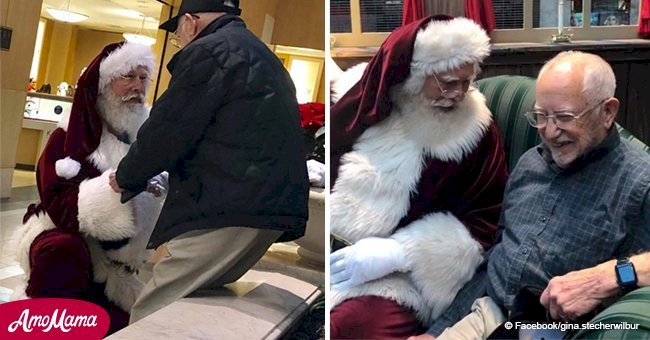 Stranger burst ino tears spotting Santa dropping to knees before 93-year-old man