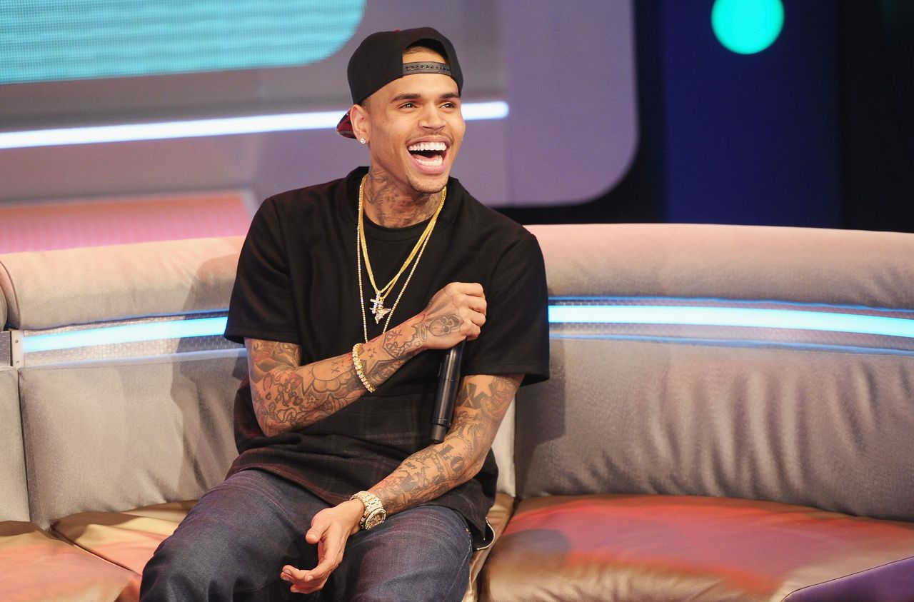 """Chris Brown at BET's """"106 & Park"""" at BET Studios on April 1, 2013 in New York City 