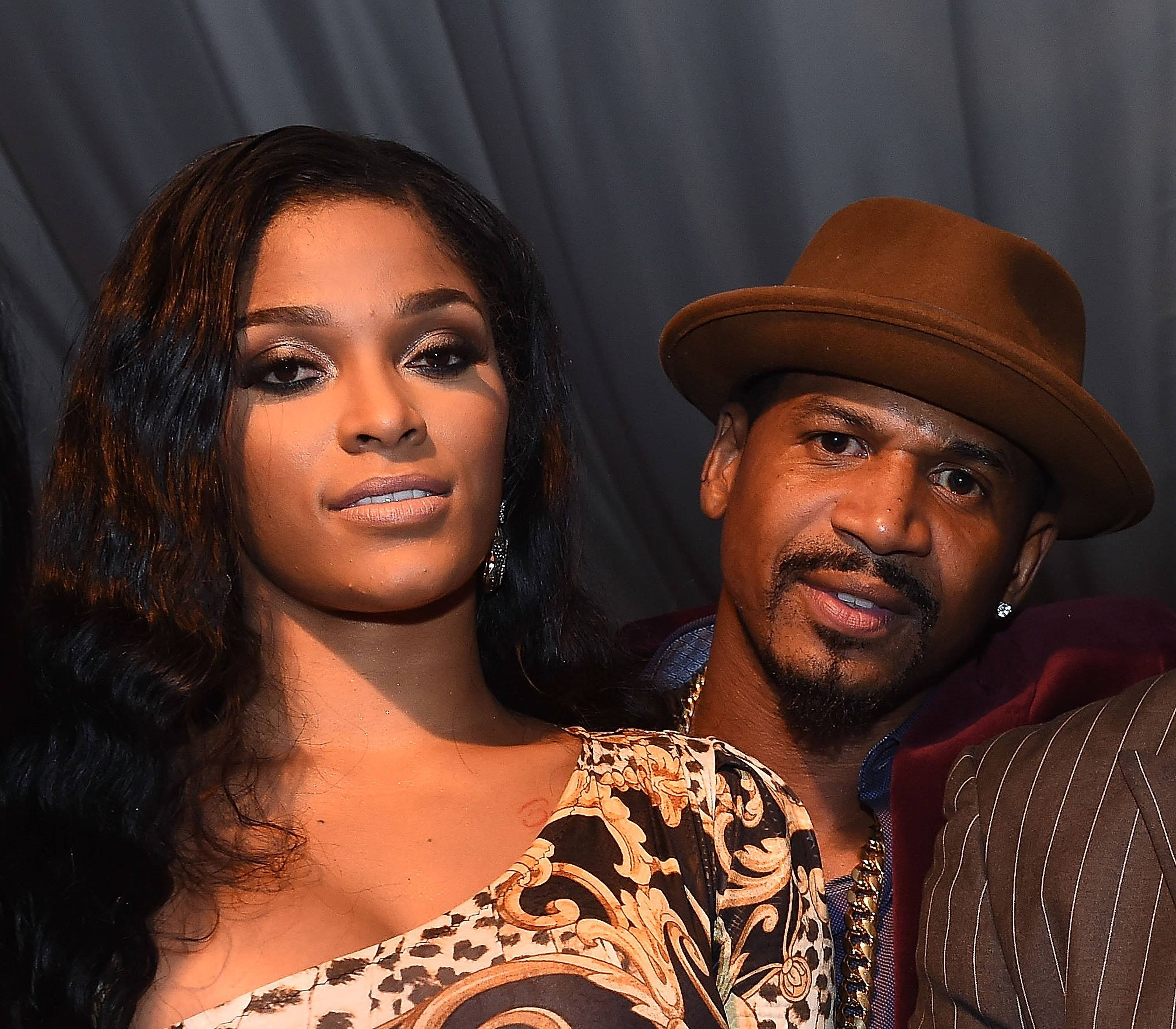 "Former couple and parents of Bonnie Bella, Joseline Hernandez and Stevie J attending ""ATL Live on the Park"" in 2014. 