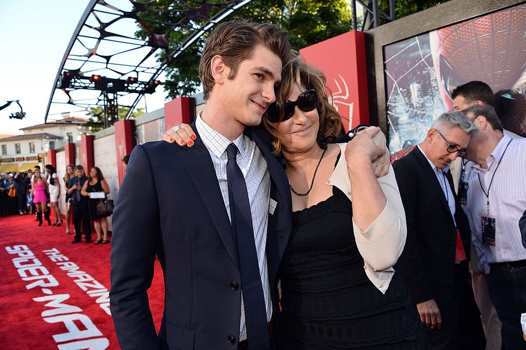 """Actor Andrew Garfield and Co-Chairman of Sony Pictures Entertainment Amy Pascal arrive at the premiere of Columbia Pictures' """"The Amazing Spider-Man"""" , June 2012 