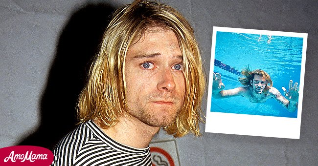 """Pictures of Spencer Elden recreating the Nevermind"""" album cover and Kurt Cobain   Source: twitter.com/PigsAndPlans     Getty Images"""