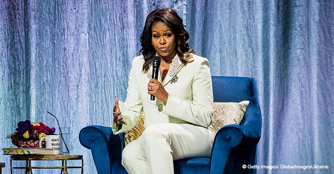 Michelle Obama Dons a Custom Crystal-Embellished Mint Suit Drawing Attention to Her $675 Heels