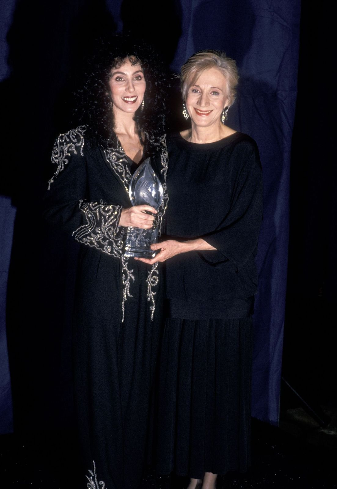 Cher and Olympia Dukakis at the 15th Annual People's Choice Awards on March 12, 1989. | Getty Images