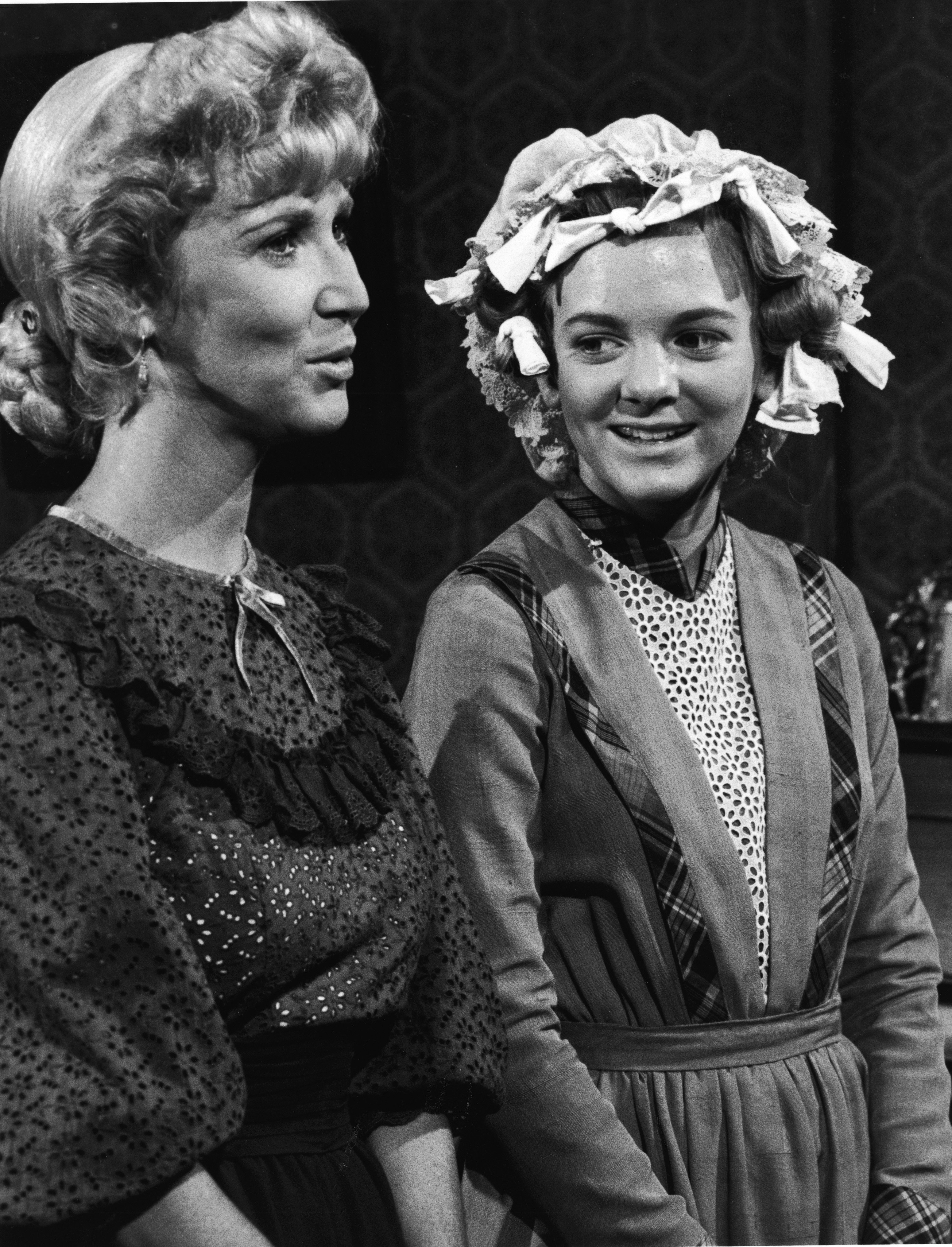 Charlotte Stewart and Alison Arngrim in a scene from an episode of the TV series 'Little House on the Prairie'  in 1977 | Photo: Getty Images