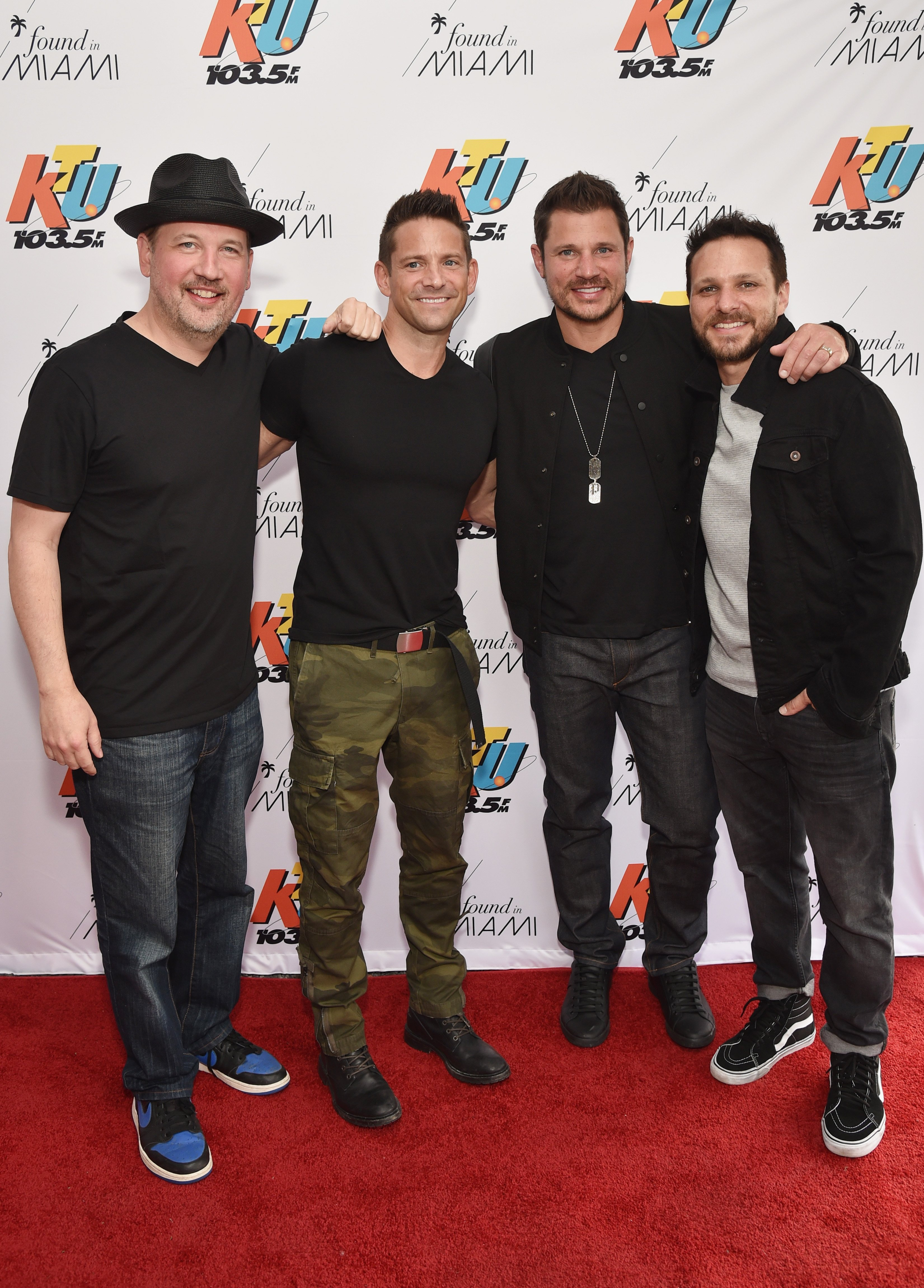 Justin Jeffre, Jeff Timmons, Nick Lachey and Drew Lachey of 98 Degrees attend 103.5 KTU's KTUphoria on June 16, 2018, in Wantagh City. | Source: Getty Images.