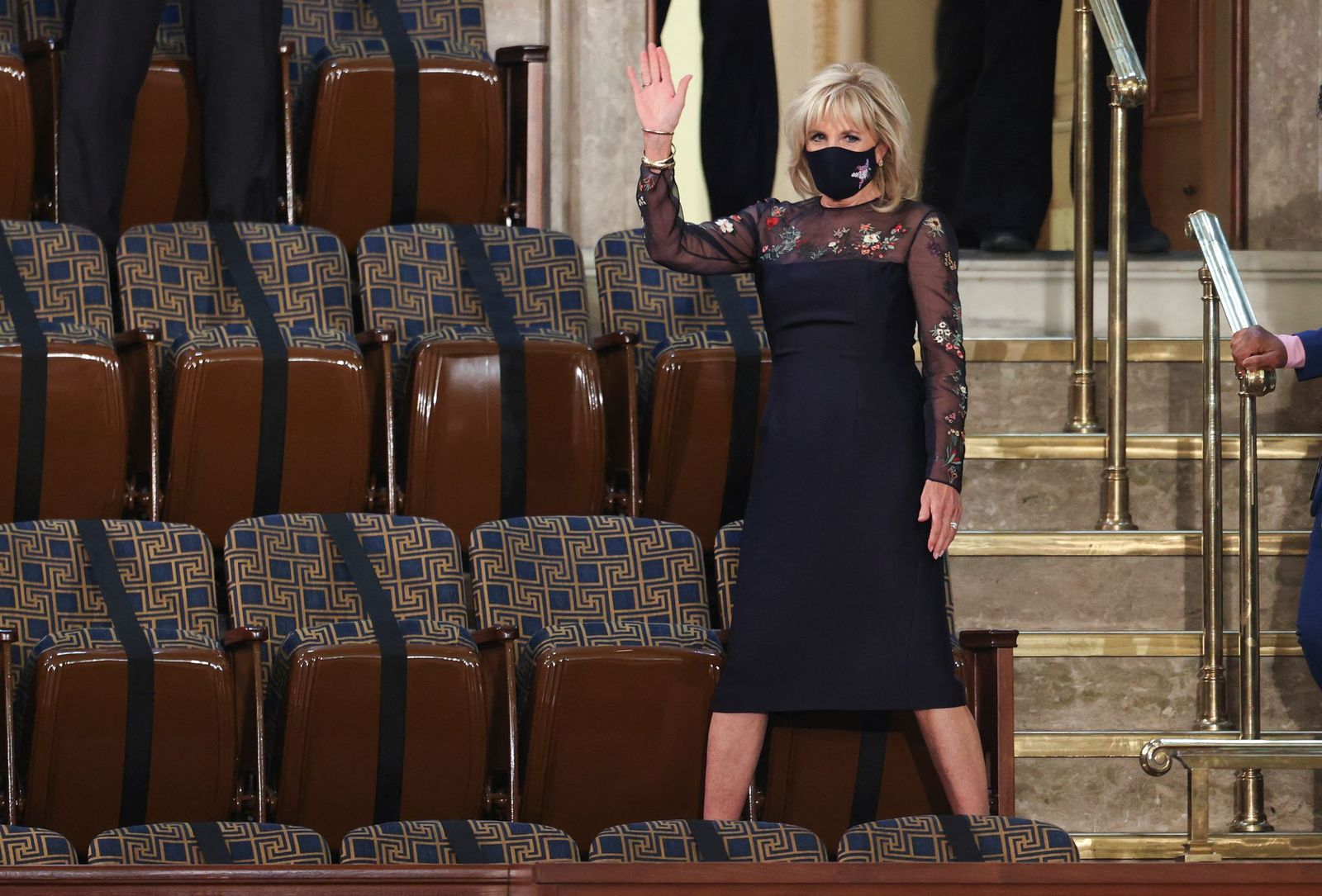 Jill Biden waves as she arrives forPresident Joe Biden's address to joint session of the Congress at the US Capitol in Washington, DC, on April 28, 2021. | Getty Images