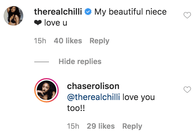 Chilli from TLC commented on a photo of Chase Rolison with braided hair wearing makeup byAnela Beauty | Source: Instagram.com/chaserolison