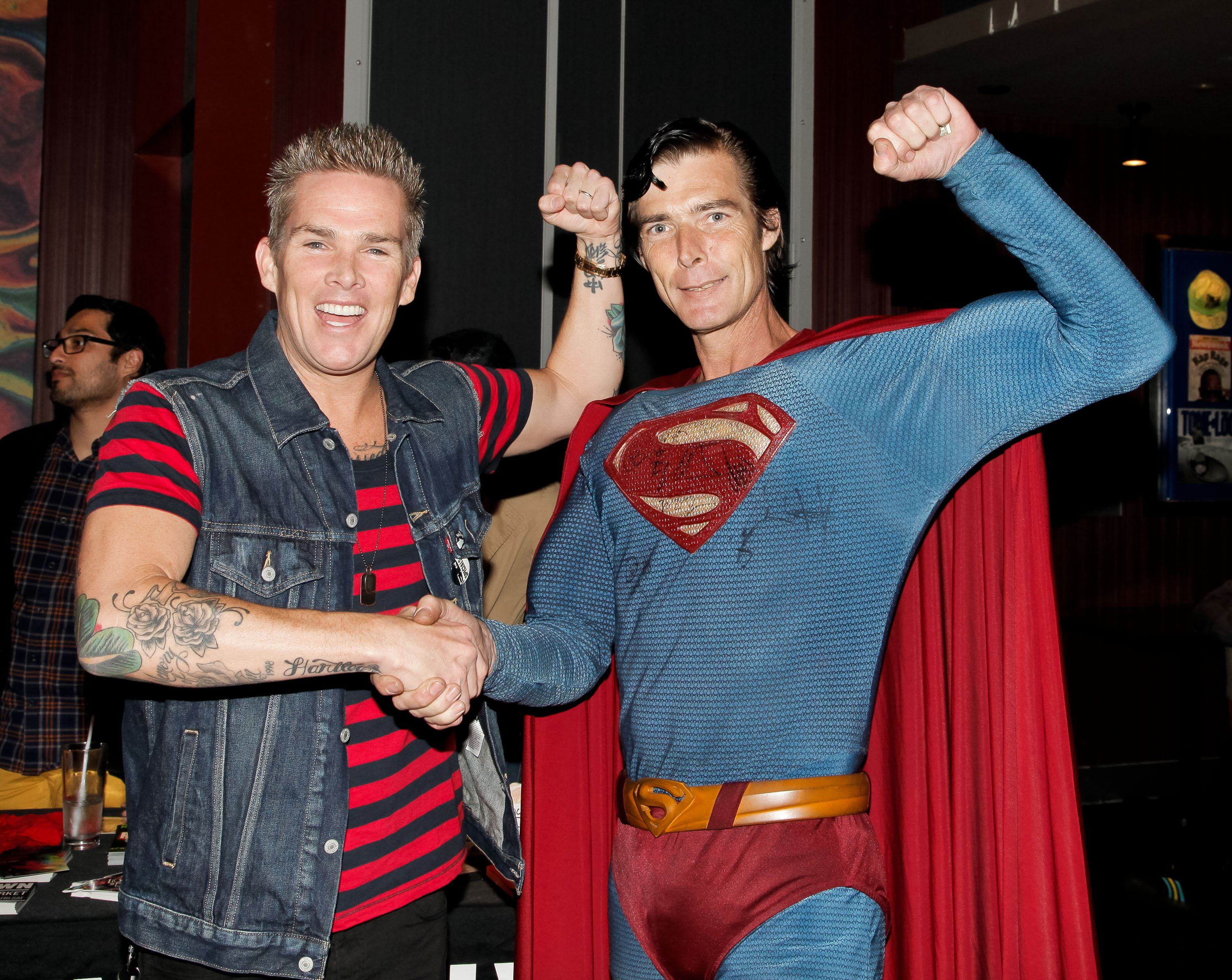 "Christopher Dennis with musician Mark McGrath at ""Sing For Your Supper"" at Hard Rock Cafe in Hollywood, California 