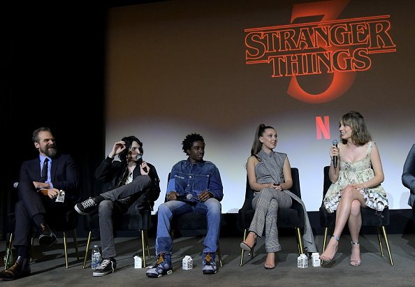 David Harbour, Finn Wolfhard, Caleb McLaughlin, Millie Bobby Brown and Maya Hawke at Pacific Design Center on January 11, 2020 in West Hollywood, California. | Photo: Getty Images