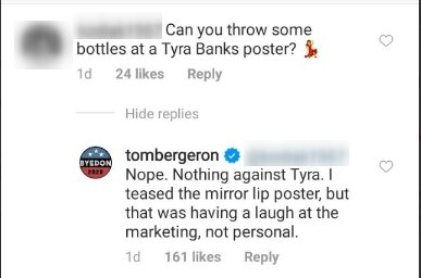 Photo of Tom Bergeron's comment on an Instagram post | Photo: Instagram / tombergeron