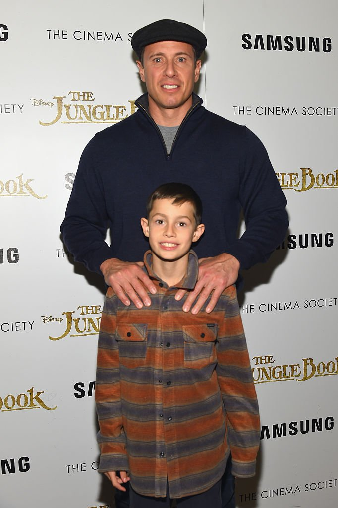 """Chris Cuomo and son Mario Cuomo attend as Disney with The Cinema Society & Samsung host a screening of """"The Jungle Book"""" at AMC Empire 25 theater on April 7, 2016 