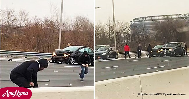 Armored truck scatters cash across New Jersey highway leading to multiple crashes