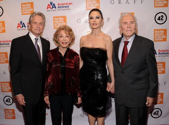 Michael Douglas, Anne Douglas, Catherine Zeta-Jones and Kirk Douglas attend the The Film Society of Lincoln Center's 37th Annual Chaplin Award gala at Alice Tully Hall on May 24, 2010, in New York City.| Source: Getty Images.