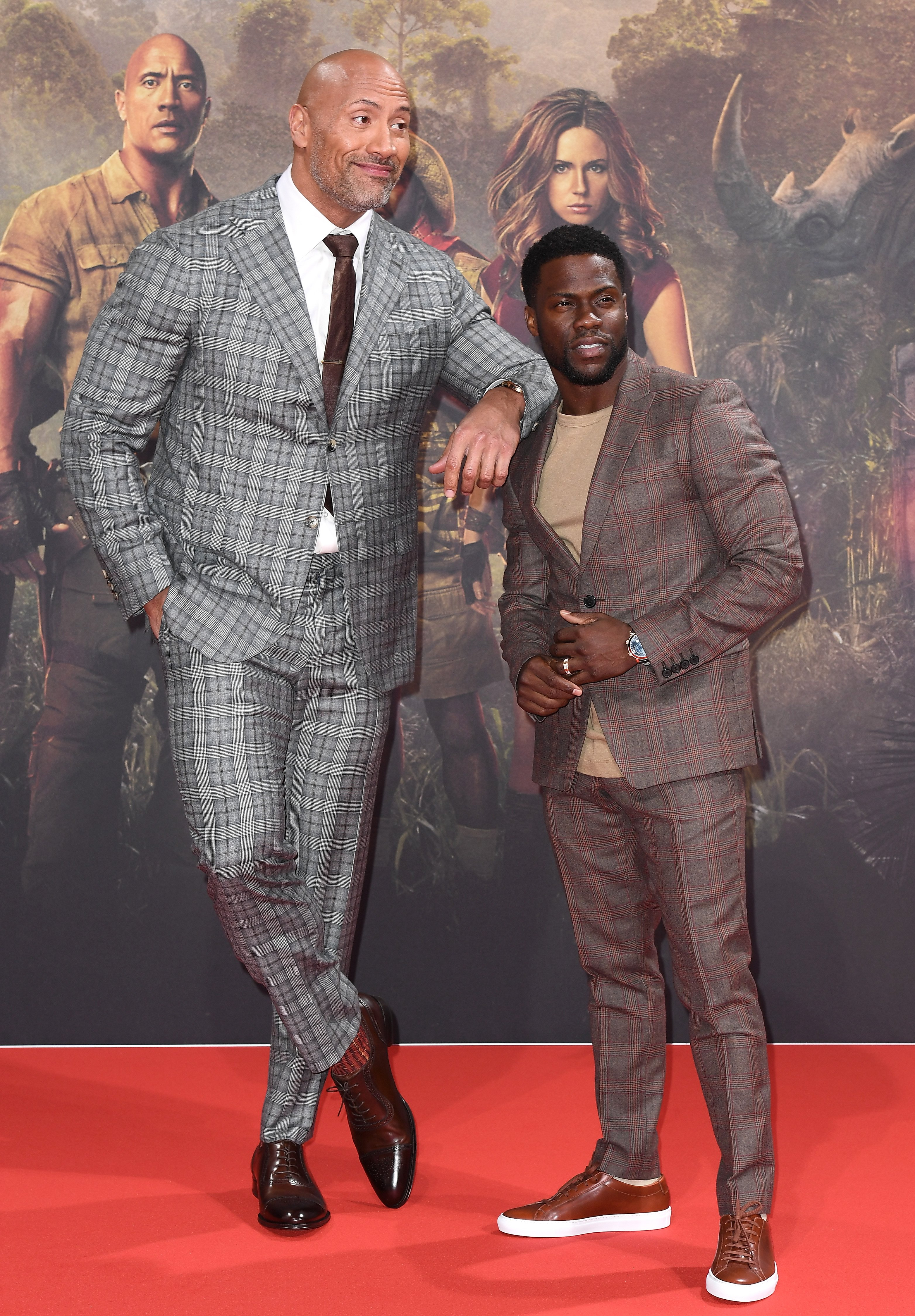 "Dwayne Johnson and Kevin Hart attend the German premiere of ""Jumanji"" on December 6, 2017, in Berlin, Germany. 