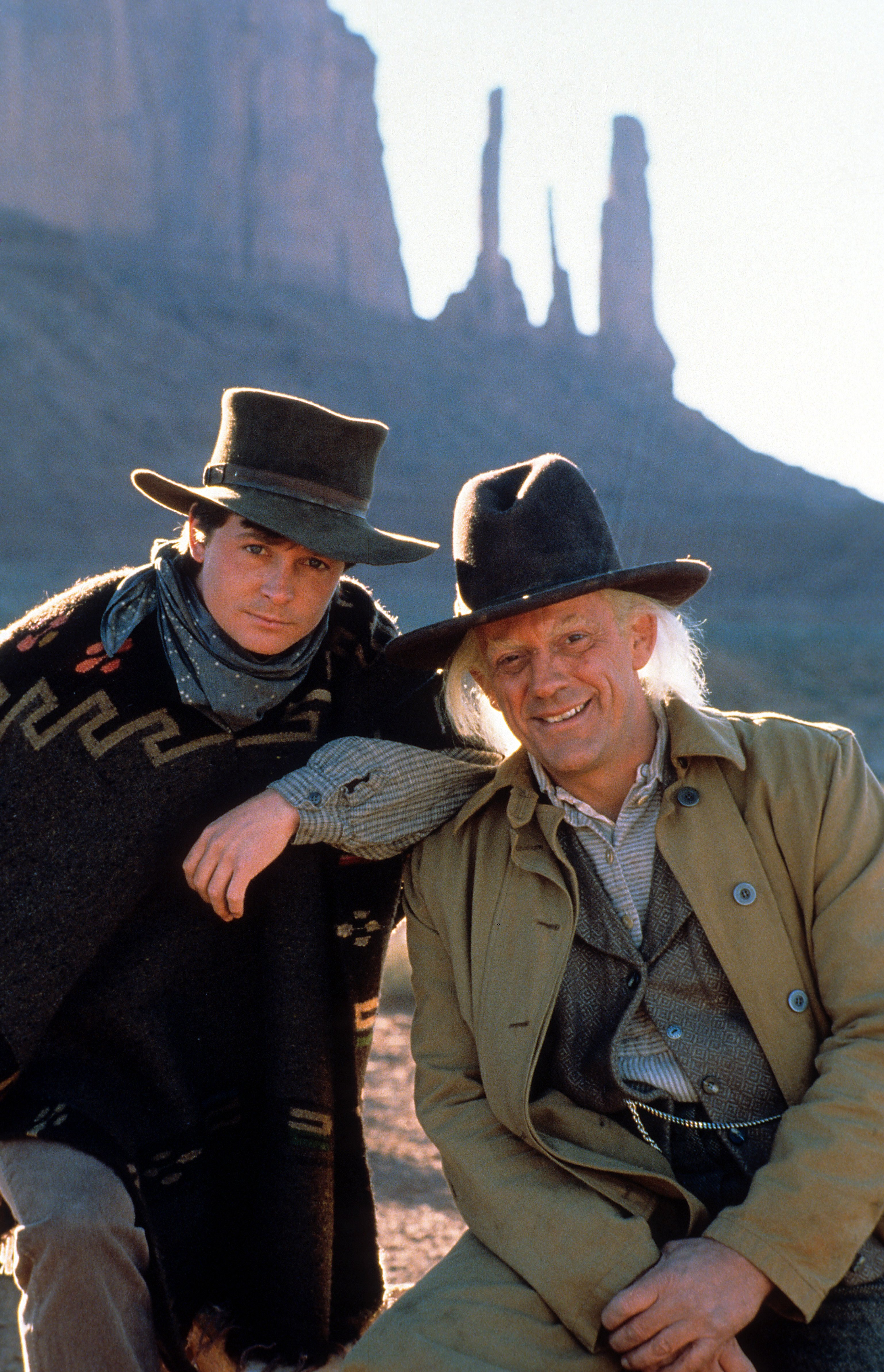 Michael J. Fox and Christopher Lloyd in a scene from the film 'Back to the Future Part III', 1990.   Source: Getty Images