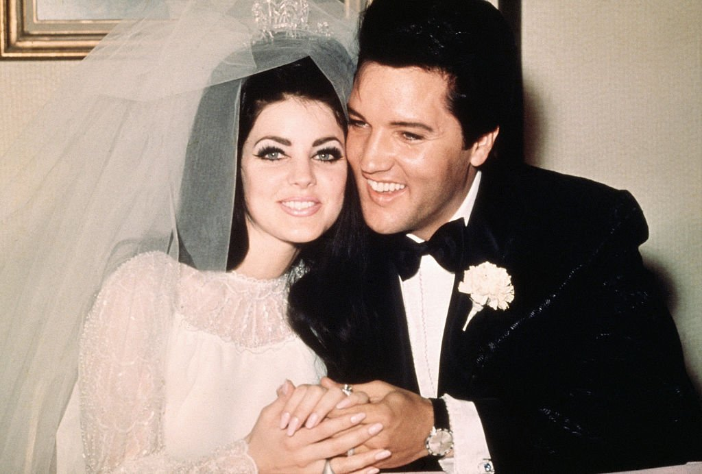 Elvis Presley with his bride, the former Priscilla Ann Beaulieu Wagner, on their wedding day, May 1, 1967   Photo: Getty Images