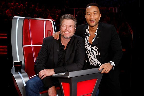 Blake Shelton and John Legend posing for a photo on the set of The Voice | Photo: Getty Images