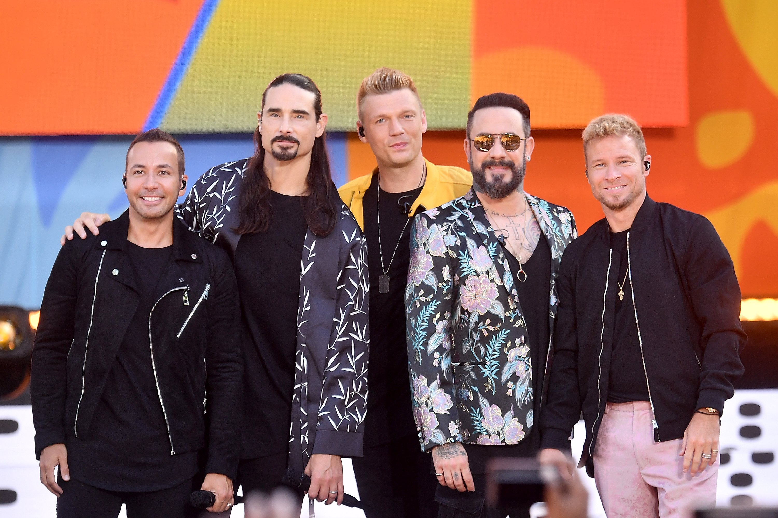 """Howie D., Kevin Richardson, Nick Carter, AJ McLean and Brian Littrell of the Backstreet Boys perform on ABC's """"Good Morning America"""" at SummerStage at Rumsey Playfield, Central Park on July 13, 2018, in New York City. 