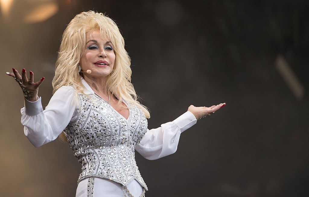 Dolly Parton performs on the Pyramid Stage during the Glastonbury Festival on June 29, 2014.   Photo:Getty Images