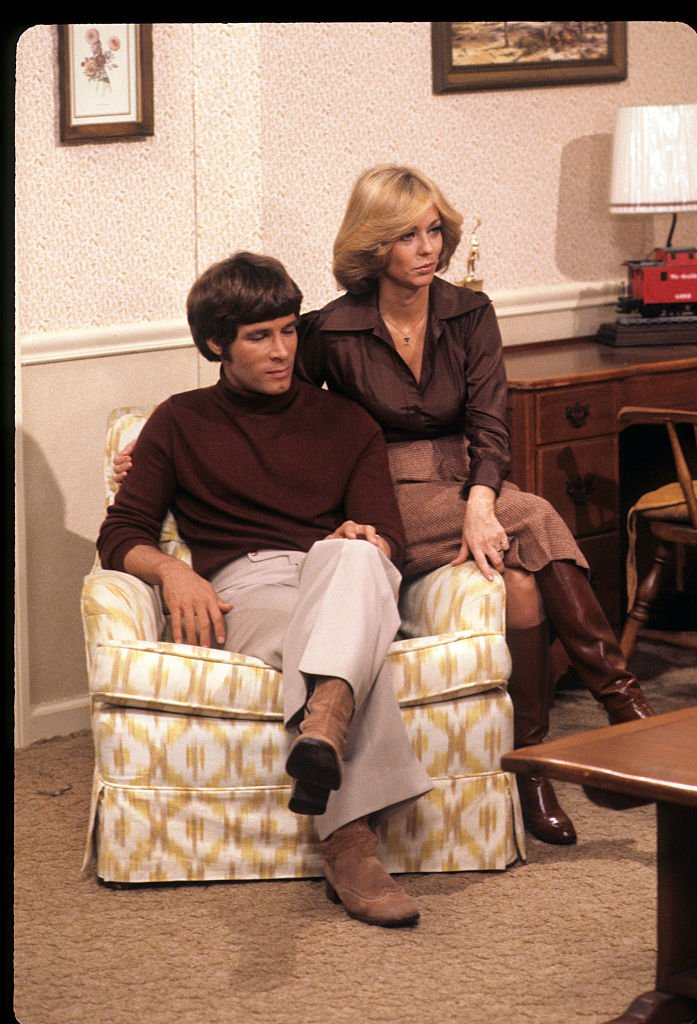 """Actors Don Grady and Tina Cole attend a Thanksgiving Reunion with """"The Patridge Family"""" & """"My Three Sons"""" special on November 25, 1977. 