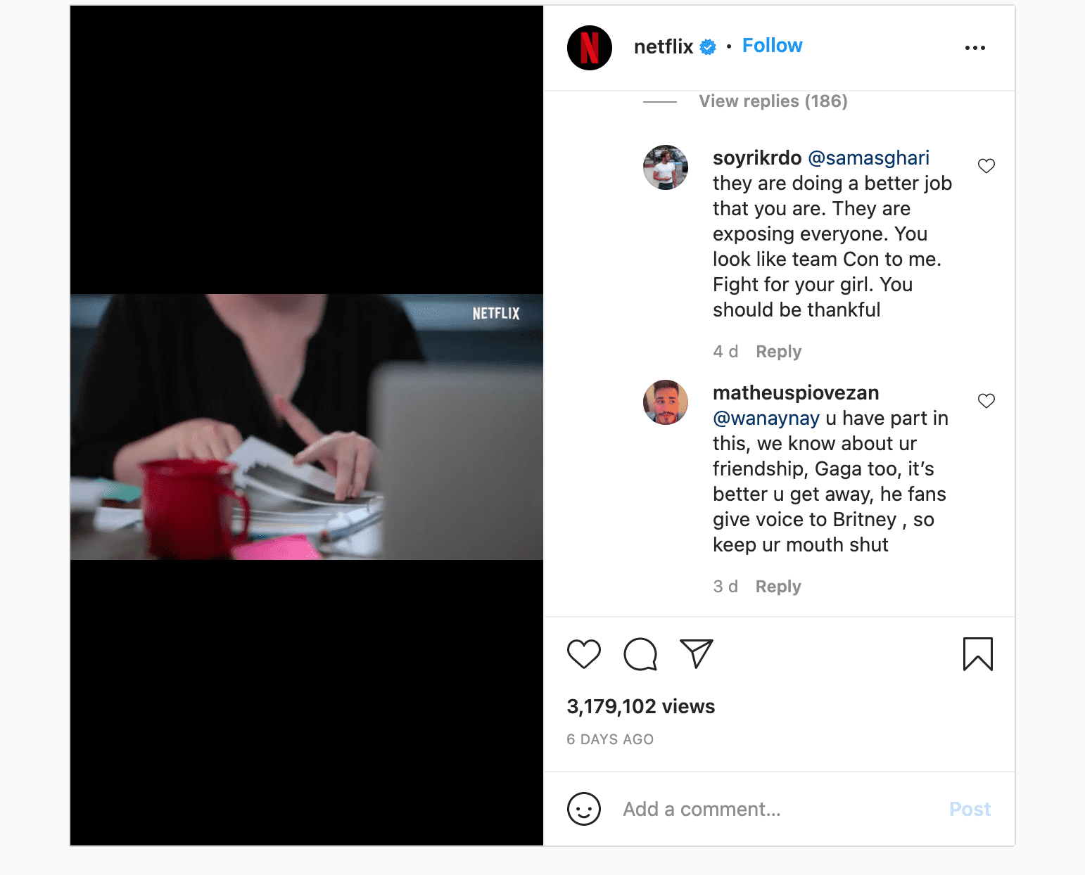 Comments made in response to Sam Asghari's now-deleted comment on the Netflix documentary announcement post on Instagram   Photo: Instagram @netflix