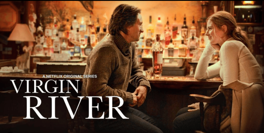 """A screengrab from the series """"Virgin River"""" showing the lead actors Alexandra Breckenridge and Martin Henderson gazing at each other   Photo: Instagram/@virginriverseries"""