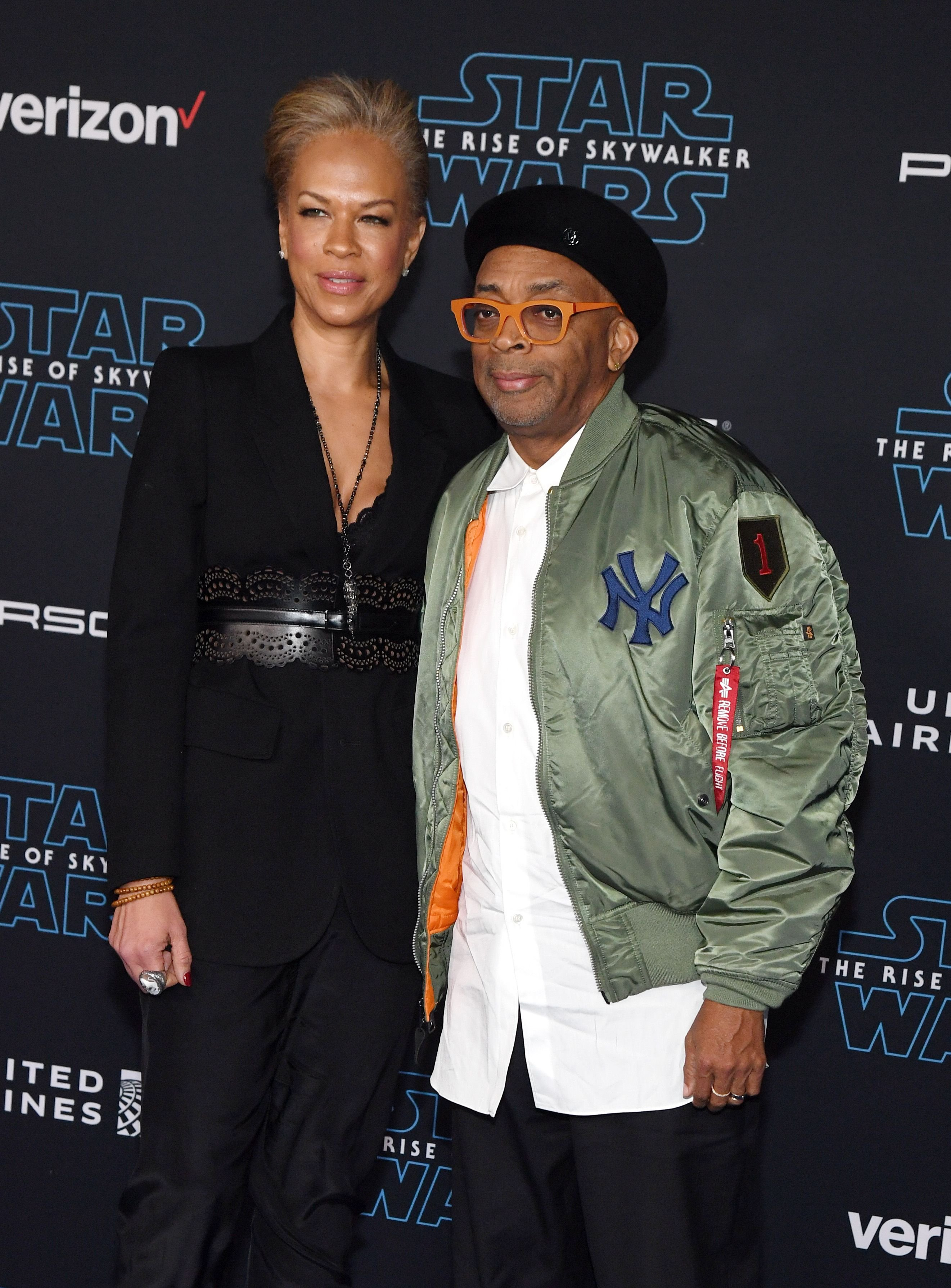 """Tonya Lewis Lee and Spike Lee,at the premiere of """"Star Wars: The Rise of Skywalker"""" in December 2019 in Hollywood   Source: Getty Images"""