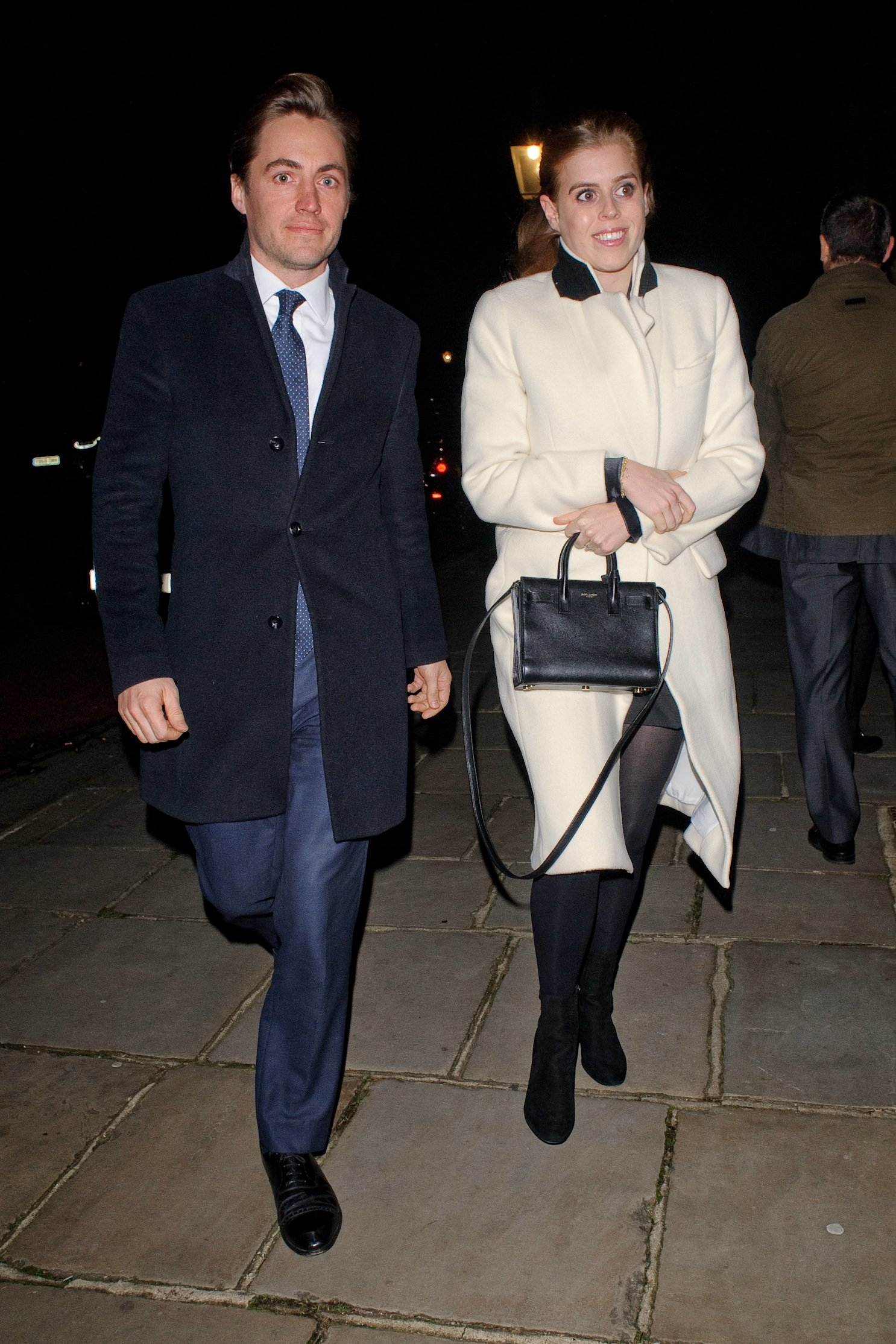 Princess Beatrice (R) and Edoardo Mapelli Mozzi seen attending Evgeny Lebedev's Christmas Party at a private North London residence on December 13, 2019 | Photo: Getty Images