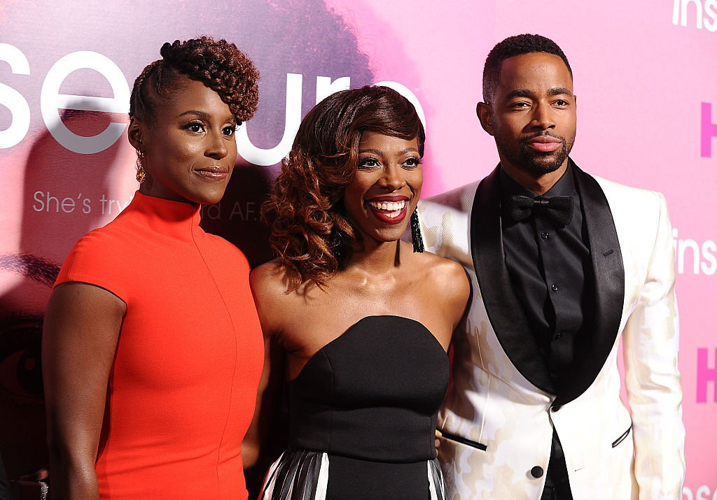 """Issa Rae, Yvonne Orji and Jay Ellis attend the premiere of """"Insecure"""", October 2016   Source: Getty Images"""