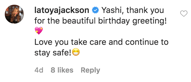 La Toya Jackson commented on Yashi Brown's birthday tribute to her and Rebbie Jackson | Source: Instagram.com/yashibrown