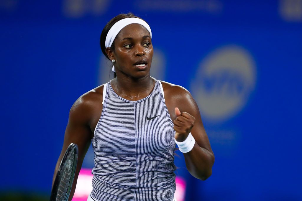 Tennis player Sloane Stephens of the United States in the first round match against Zhang Shuai of China on September 22, 2019 in Wuhan. | Photo: Getty Images