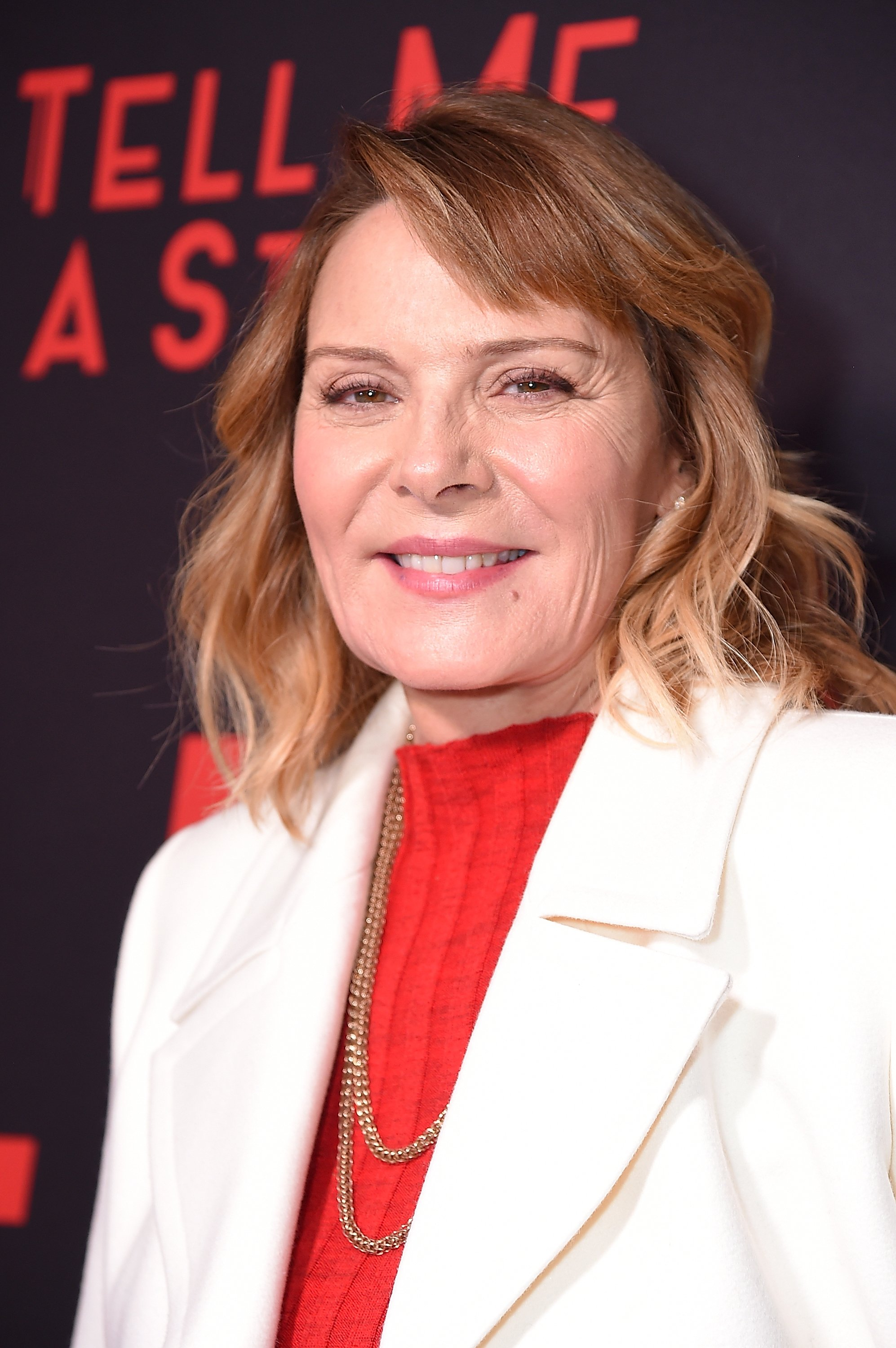 "Kim Cattrall attends the New York premiere of CBS All Access' ""Tell Me A Story"" on October 23, 2018, in New York City. 