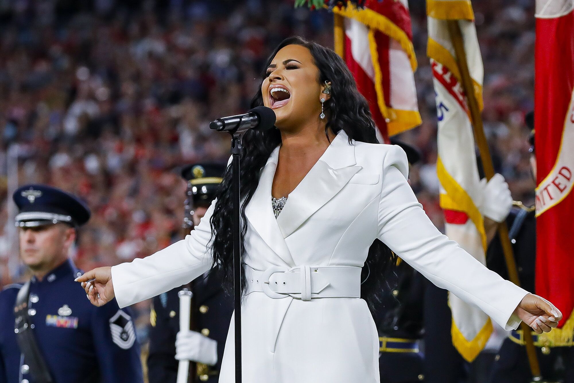 Demi Lovato performs the national anthem before the 2020 Super Bowl | Source: Getty Images