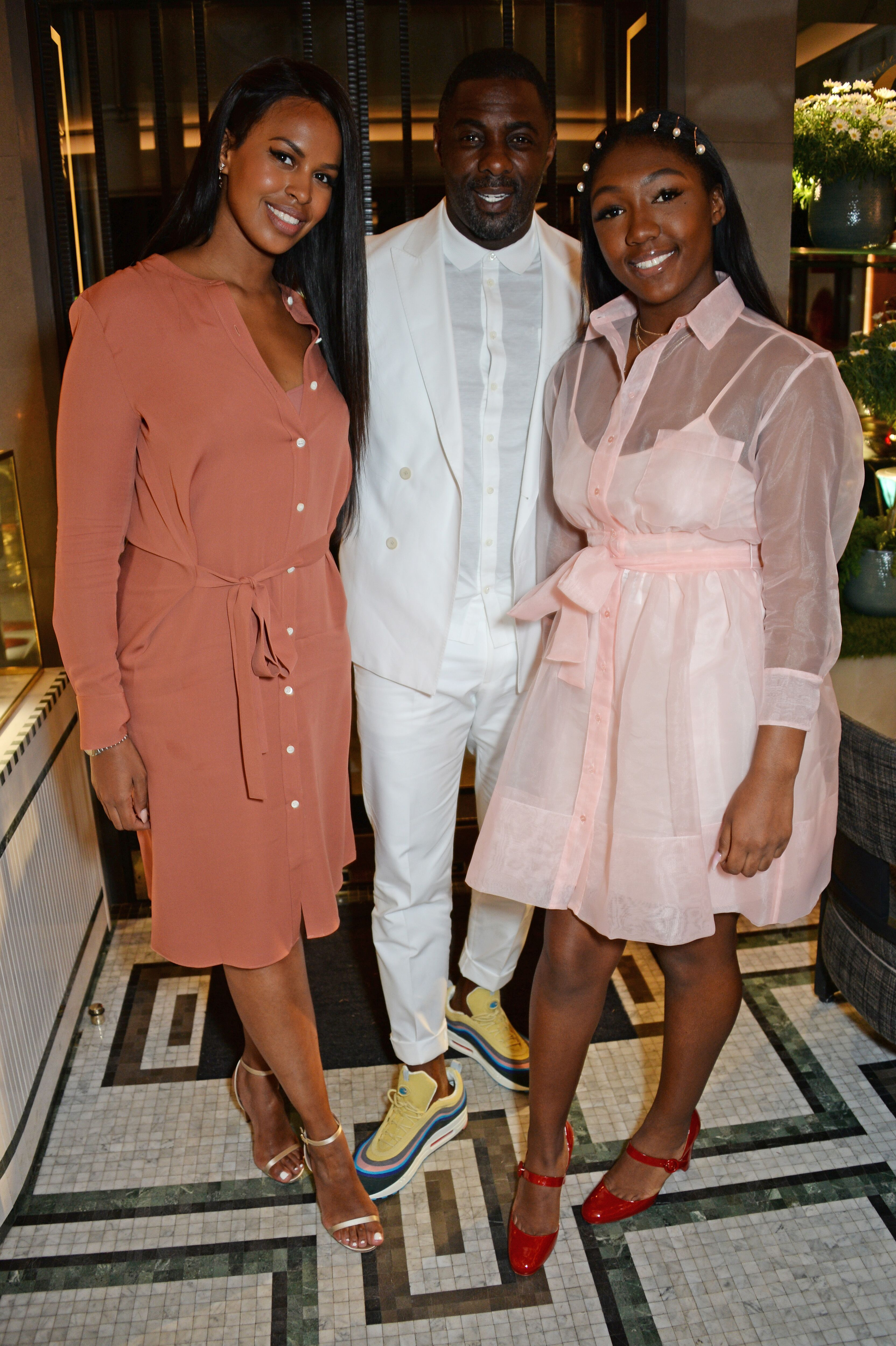 Sabrina Dhowre, Idris Elba and daughter Isan Elba at the ABB Formula E Qatar Airways Paris E-Prix after party in Paris in 2018 ! Source: Getty Images