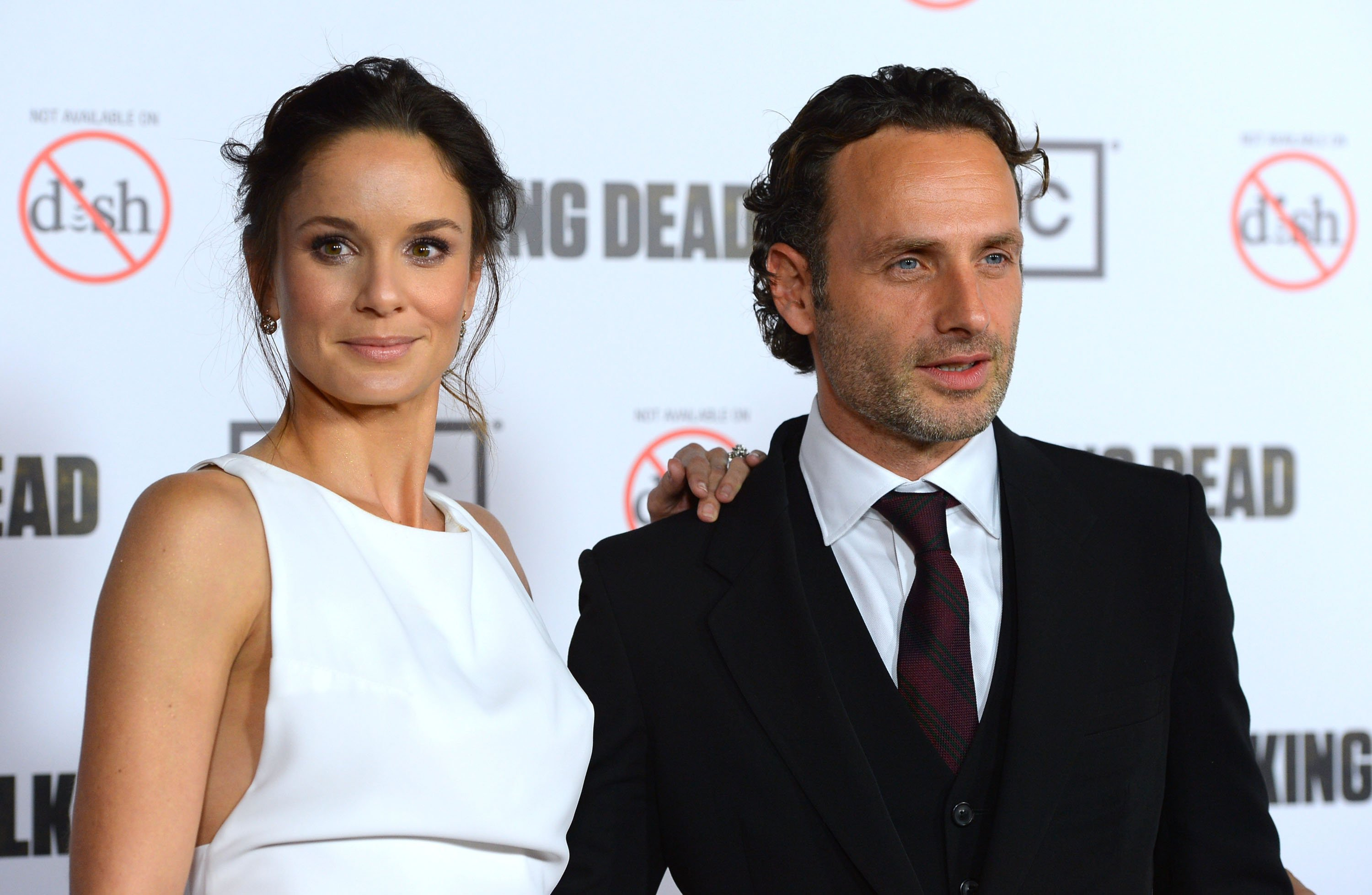 "Sarah Wayne Callies and Andrew Lincoln arrives at the premiere of AMC's ""The Walking Dead"" 3rd Season at Universal CityWalk on October 4, 2012 in Universal City, California. 